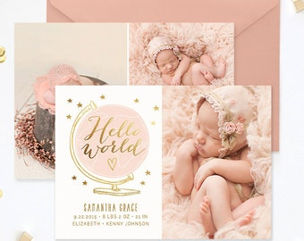 Birth Announcement Template, Birth Announcement Girl, Birth Announcement Template Boy, Photography Templates, Photoshop Template - BA180