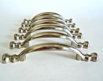 6 poignées de tiroir vintage feutré des poignées en métal ton argent tiroir tire poignées matériel