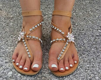 Handmade sandals , greek leather  sandals , swarovski crystals, ''Archontia '', leather sandals , strass sandals