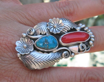 Turquoise, Coral and Sterling Silver Feather and Squash Blossom Ring Size 7