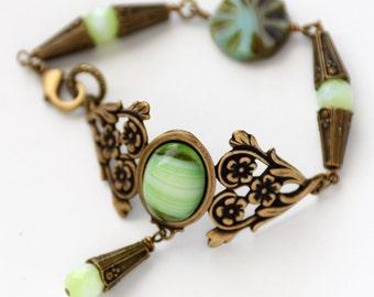 Green Victorian Style Cuff Bracelet, Czech Glass Bracelet, Floral Cuff, Romantic Jewelry, Green Bracelet, Gift for Her, Flat rate ship SRAJD