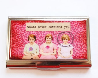 Funny Card Case, Business Card Case, Defriend, business card holder, Humor, Funny Business Card Case, gift for her, Card case, pink (3002)