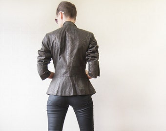 Grey brown snakeskin pattern real leather jacket M