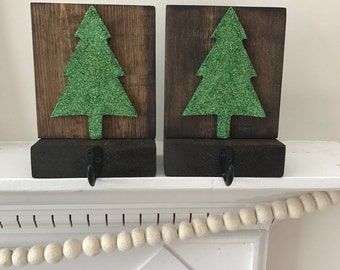 Rustic Wood Stocking Holders, Christmas Tree Stocking Holder, Stocking Holder, Christmas Mantel