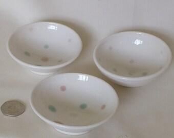3 Handmade Porcelain Trinket Bowls