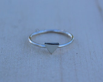Sterling Silver Triangle Ring - Stacker Stacking Stackable - Geometric Ring - Thin - Dainty - Delicate - Simple - Slim - Modern Stack Ring