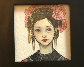 SALE** FLOWER GIRL--Original One Of A Kind Illustration Korean Chinese Painting