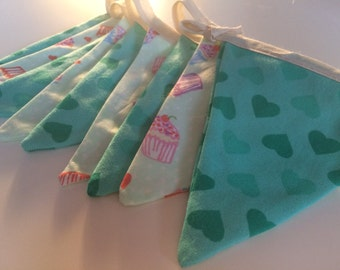 Teal hearts and cupcakes bunting