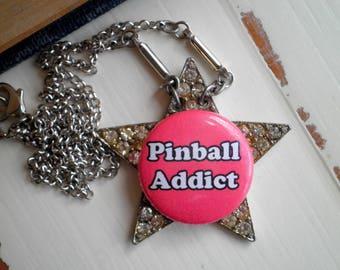 Pinball Superstar Statement Necklace  - Retro Pinball Pin + Upcycled Rhinestone Star Brooch Pendant - Kitschy Pinball Addict Jewelry Gift