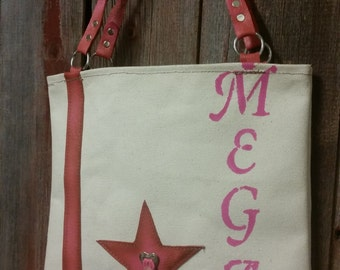Handmade Leather canvas tote bag ( Made in the USA ) personalized