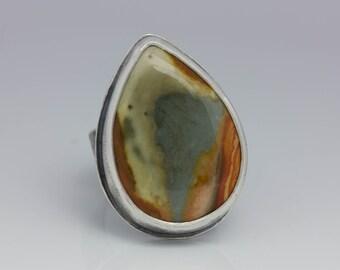 Polychrome Jasper Ring, Jasper & Sterling Ring, Boho Jasper Ring, Le Chien Noir, Artisan Ring, Size 6.75