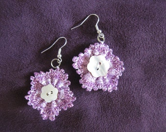 Bobbin lace flower earrings with silver plated hooks