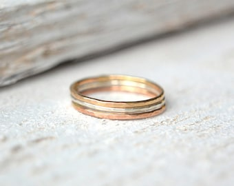 Stacking Rings- Gold Stacking Rings, Rose Gold Stacking Rings, Hammered Rings, Mixed Metal Rings, Modern Ring, Minimalist Rings, Midi Rings