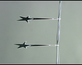 Silver star earring, long silver star earring, long dangle star earring, drop star earring, minimal, modern