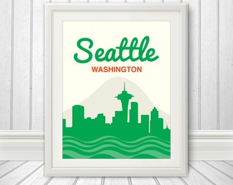Seattle, Seattle Skyline, Seattle Print, Seattle Poster, Washington - 11x14