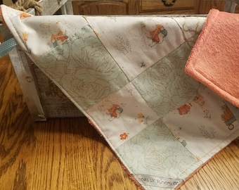 Easter Bunny Patchwork Lovey/Small Blanket in Mint, Gold and Blush Pink Floral, Heart and Arrow