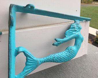 Mermaid Brackets/ Wall Brackets/ Cast Iron Brackets, Wall Decor/ Set of 2/ Nautical Brackets/ Home and Gardent Decor