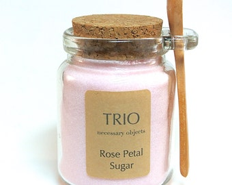 Pink Rose Petal Sugar, 8 oz  Glass Sugar Jar with Mini Wooden Spoon for Tea Parties, Coffee, High Tea, Mad Hatter Tea Party, Rose Water