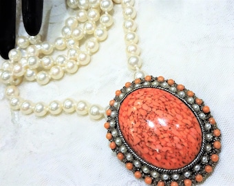 Vintage Victorian Revival Style Coral Coloured Art Glass, Faux Seed Beads nsd Small Faux Pearls