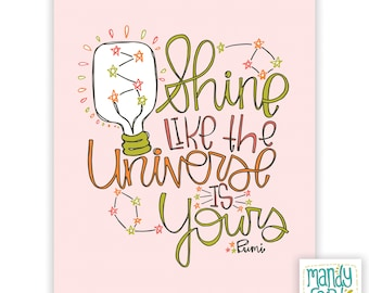 Shine Universe Rumi Quote Handlettering Illustration Inspirational Quote Handlettered Prints Rumi Art