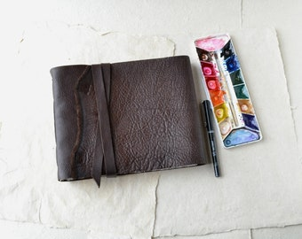 Rustic Leather Journal with Fabriano Artistico Watercolor Paper