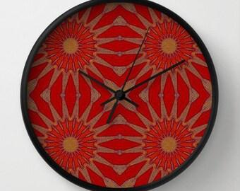 Clock, Pinwheel Flowers Autumn Red Clock, Wall Clock, Flower Clock, Red Clock, Home Decor, Kitchen Clock, Autumn Red Flower