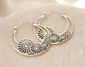 boho earrings for wife Big silver hoop earrings creole boho sister gift big silver hoop bohemian earrings bohemian jewelry fashion earrings