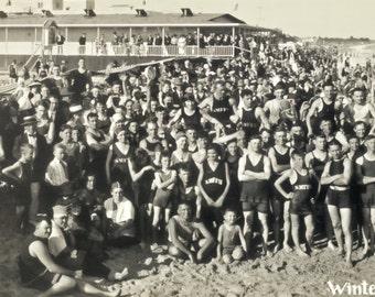 Panoramic Photo Miami Beach, Florida Swimming Black and White Poster, January, 1921, Vintage Bathers at Beach
