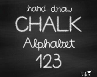 Hand Drawn Chalk Alphabet 2 - Alphabet and Number Digital Clipart - scrapbooking, card design, invitations, web design - INSTANT DOWNLOAD
