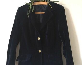 Vintage 70s Midnight Navy Blue Velvet Mod Squad Jacket mens womens small medium APXu5jQwfa