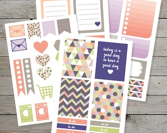 Printable Planner stickers - Erin Condren - purple grey coral - geometric pattern - box stickers - planner icon stickers - monthly kit