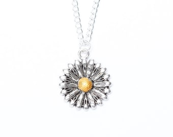Silver Sunflower Necklace | Flower Necklace | Sunflower Pendant | Flower Jewellery | Sunflower jewellery