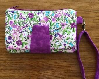 Purple Floral Clutch Wallet