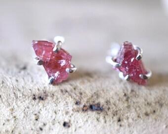 Raw garnet studs silver earrings rhodolite garnet sterling silver rough stone studs purplish red stone earrings  jewelry January birthstone
