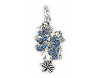 Bluebonnet Charm Jewelry Sterling Silver Handmade Texas Wildflower Charm BBD-C