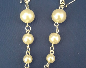 Wedding jewelry, pearls Mallorca and 925 Sterling Silver earrings