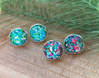 Confetti Studs || Glitter Studs || Confetti Earrings || Glitter Earrings || Sparkle Studs || Sparkle Earrings
