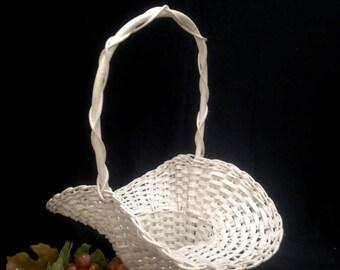 white flower basket girl wedding Easter basket Victorian shabby chic farmhouse country wicker yesteryears