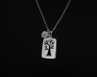 Sterling Silver Family Tree Necklace. Personalized Jewelry. 1.2.3.4.5.6.7.8 Initial Necklace. Family Initial Necklace. Mother Necklace.