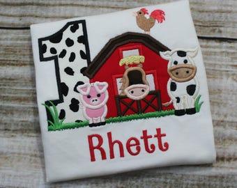 Barnyard Birthday Shirt - Farm Birthday Shirt - First Birthday Shirt - Horse Birthday Shirt - Cow Birthday Shirt - Boy Birthday Shirt