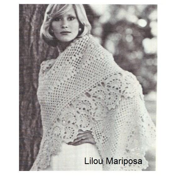 Patron pdf de tejido70s en crochet poncho sueter reboso