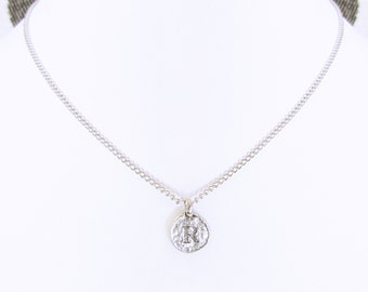 """Personalized Necklace, """"R"""" coin letter necklaces, silver R initial necklace, sterling silver choker with R charm, best friend initial R gift"""