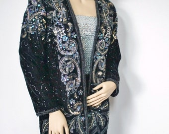 Jacket Beaded Black Velvet Formal Sequin Blazer Evening Coat 1980's Velvet Wedding Size Extra Large
