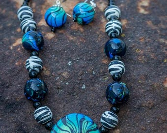 Blue and Green Abstract Polymer Clay Necklace & Earring Set with Wooden Zebra Beads