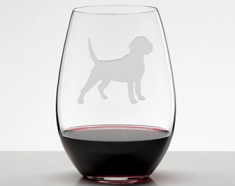 Beagle Gift, Beagle Wine Glass, Etched Stemless Wineglass