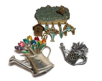 Vintage Sterling Silver Gardening Brooch / Pendant Trio