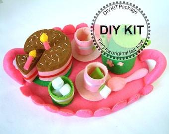 Felt play food-DIY Felt Tea time(tray,tea top,cups,chocolate cake)Kit Package--K-F23