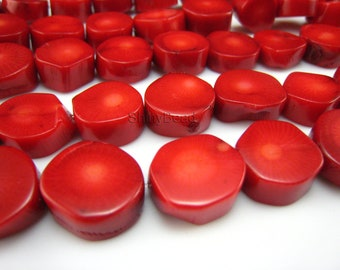 red coral nugget bead l bead 15mm 15 inch