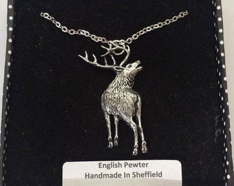 A70 Stag 2  english pewter 3D Platinum Necklace Handmade 18 inch