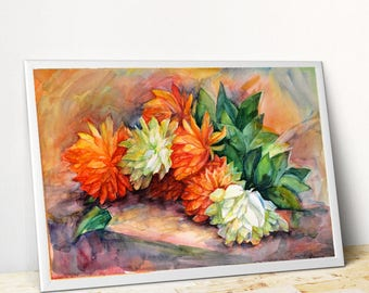Orange flowers Orange picture Orange bouquet print Orange painting giclee Orange floral watercolor PaintingOnlineStore